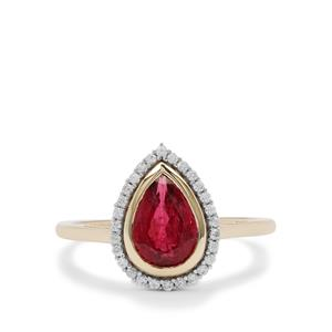 Nigerian Rubellite Ring with White Zircon in 9K Gold 1.55cts
