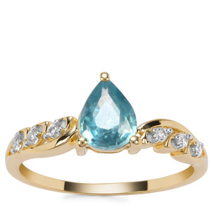 Ratanakiri Blue Zircon Ring with White Zircon in 9K Gold 1.63cts