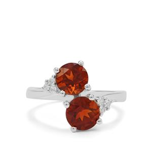 Madeira Citrine Ring with White Zircon in Sterling Silver 2.26cts