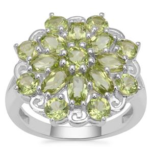 Red Dragon Peridot Ring in Sterling Silver 3.81cts