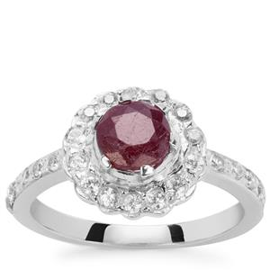 Siam Ruby Ring with White Zircon in Sterling Silver 1.65cts (F)