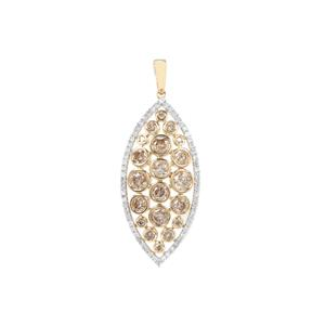 Champagne Diamond Pendant with White Diamond in 9K Gold 1.58cts