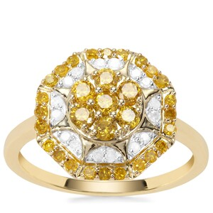 Yellow Diamond Ring with White Diamond in 9K Gold 0.76ct