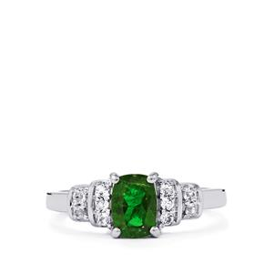 Chrome Diopside & White Topaz Sterling Silver Ring ATGW 1.13cts