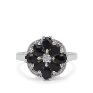Madagascan Blue Sapphire Ring with White Zircon in Sterling Silver 2.46cts