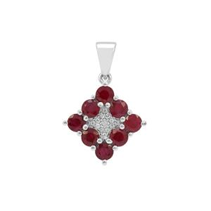 Burmese Ruby Pendant with White Zircon in Sterling Silver 2.25cts