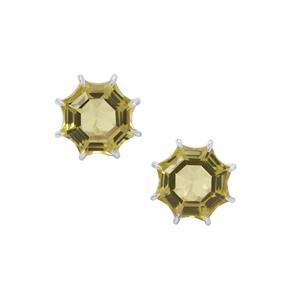 5.70ct  Mirror of Paradise Cut Lemon Quartz Sterling Silver Earrings