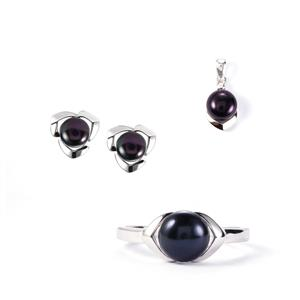Kaori Cultured Freshwater Pearl Sterling Silver Set of Ring, Earring & Pendant