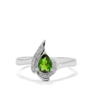 Chrome Diopside & White Zircon Sterling Silver Ring ATGW 0.74ct