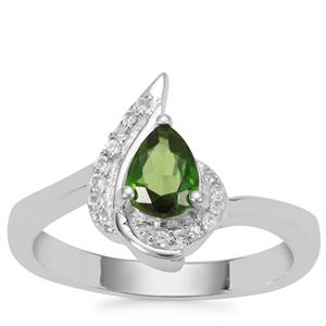 Chrome Diopside Ring with White Zircon in Sterling Silver 0.74ct