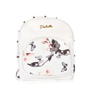 Destello Butterfly Print White Backpack