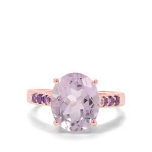 5.24ct Rose De France Amethyst & Zambian Amethyst Midas Ring