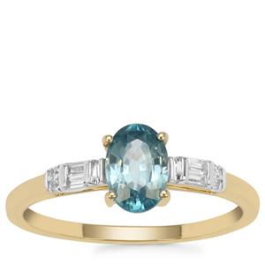 Ratanakiri Blue Zircon Ring with White Zircon in 9K Gold 1.35cts