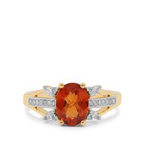 Mandarin Garnet Ring with Diamond in 18K Gold 2.10cts