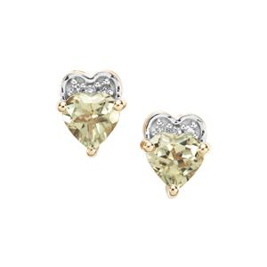 Csarite® Earrings with Diamond in 10k Gold 1.03cts