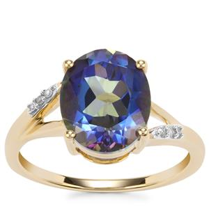 Mystic Blue Topaz Ring with Diamond in 9K Gold 4.28cts