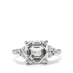 4.66ct White Topaz Sterling Silver Asscher Cut Ring