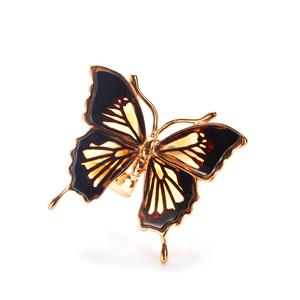 Baltic Champagne & Cherry Amber Gold Tone Sterling Silver Butterfly Ring