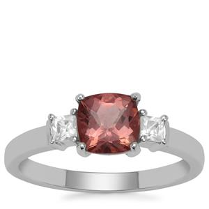 Rosé Apatite Ring with White Zircon in 9K White Gold 1.30cts