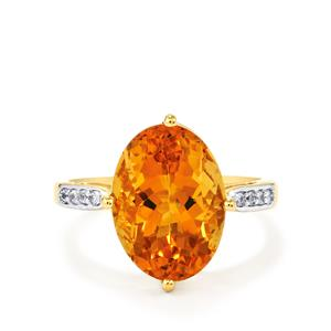 Rio Golden Citrine Ring with White Zircon in 9K Gold 6.43cts