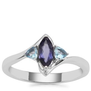Bengal Iolite Ring with Swiss Blue Topaz in Sterling Silver 0.82ct