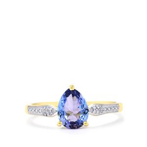 Tanzanite Ring with Diamond in 10k Gold 1.04cts