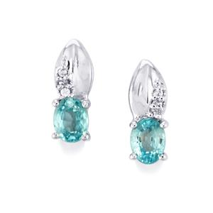 Manyoni Blue Zircon Earrings with White Zircon in Sterling Silver 0.90cts