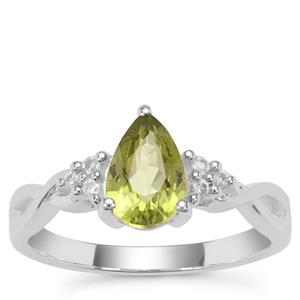 Red Dragon Peridot Ring with White Zircon in Sterling Silver 1.46cts