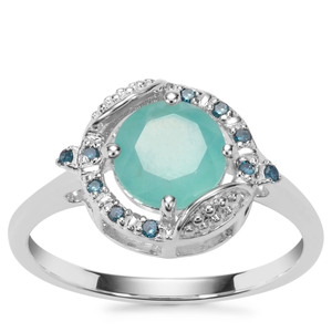 Gem-Jelly Aquaprase™ Ring with Blue Diamond in Sterling Silver 1.16cts