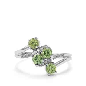 Ambanja Demantoid Garnet Ring with Diamond in 10K White Gold 1cts
