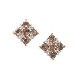 Bekily Colour Change Garnet Earrings with White Zircon in 10K Gold 0.92ct