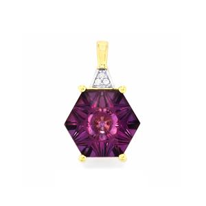 Lehrer QuasarCut Ametista Amethyst Pendant with Diamond in 9K Gold 3cts