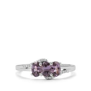 Mahenge Blue Spinel Ring with Diamond in 10K White Gold 0.82ct