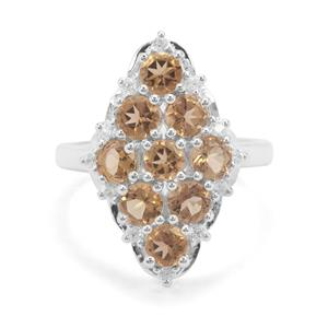 Golden Tanzanian Scapolite & White Zircon Sterling Silver Ring ATGW 2.42cts
