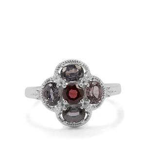 Burmese Red Spinel Ring with White Zircon in Sterling Silver 2.43cts