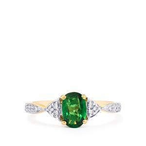 Tsavorite Garnet Ring with Diamond in 18K Gold 1.16cts