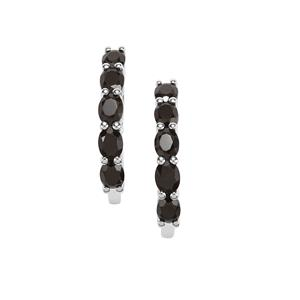 Black Spinel Earrings in Sterling Silver 2.45cts