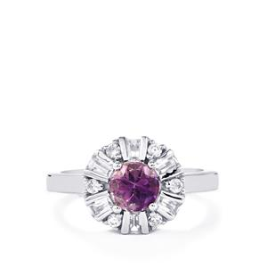 Moroccan Amethyst & White Zircon Sterling Silver Ring ATGW 1.59cts