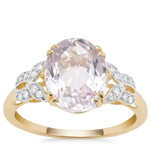 Nuristan Kunzite Ring with Diamond in 9K Gold 4.70cts