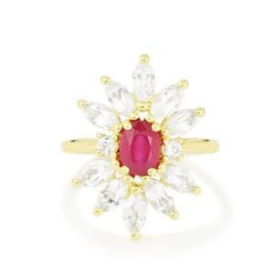 Madagascan Ruby Ring with White Topaz in Gold Vermeil 4.30cts