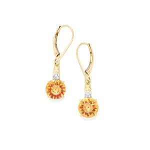 Lehrer KaleidosCut Diamantina Citrine, Malagasy Ruby Earrings with Diamond in 9K Gold 3.16cts (F)