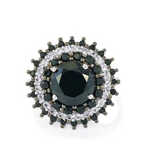 Black Spinel & White Topaz Sterling Silver Ring ATGW 4.67cts