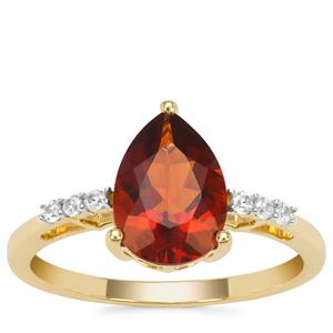 Madeira Citrine Ring with White Zircon in 9K Gold 1.80cts