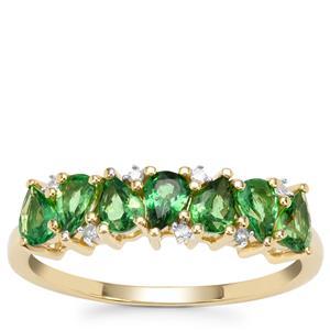 Tsavorite Garnet Ring with Diamond in 9K Gold 1.10cts