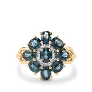 Natural Nigerian Sapphire Ring with Diamond in 10K Gold 2.89cts