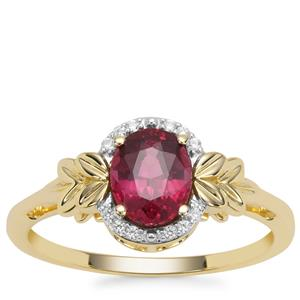 Malawi Garnet Ring with White Zircon in 9K Gold 1.22cts