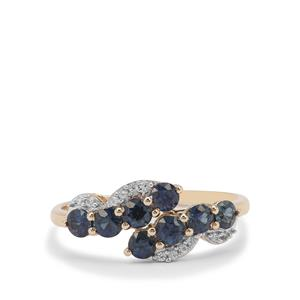 Australian Blue Sapphire Ring with White Zircon in 9K Gold 1.10cts