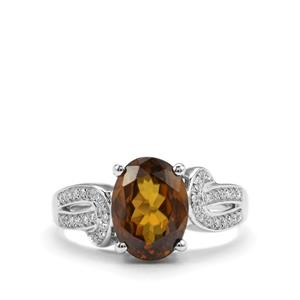 Morafeno Sphene Ring with Diamond in 18k White Gold 3.65cts