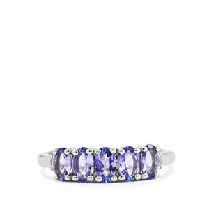 AA Tanzanite Ring with Diamond in Sterling Silver 1.15cts