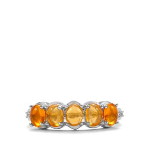 Mexican Fire Opal Ring with White Zircon in Sterling Silver 0.82cts